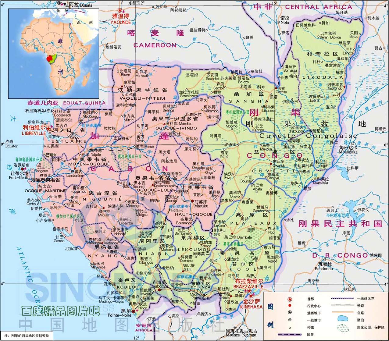 刚果共和国国土面积示意图