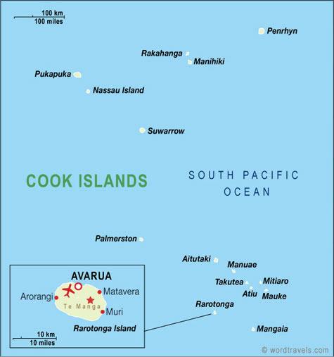 库克群岛国土面积示意图
